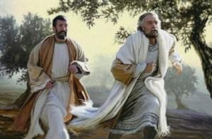 Peter and John running
