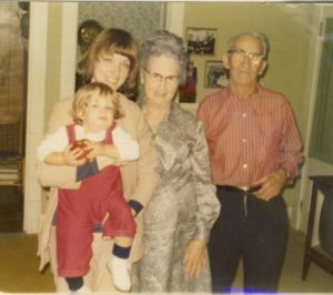 With my Bradley grandparents and son Josh in 1973